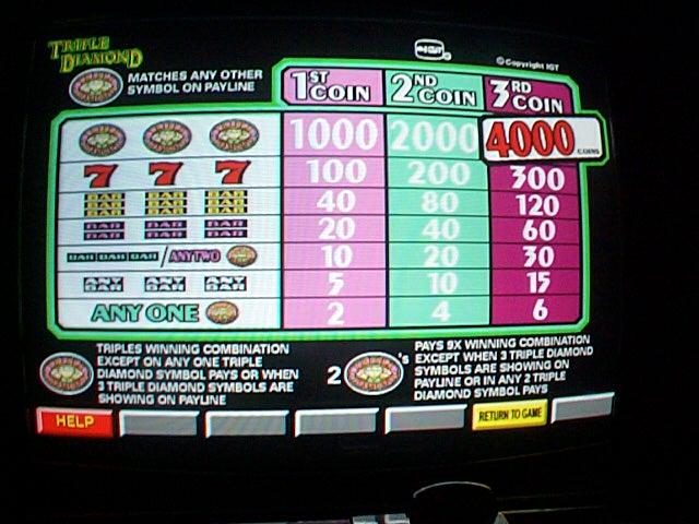 triple diamond slot machine manual